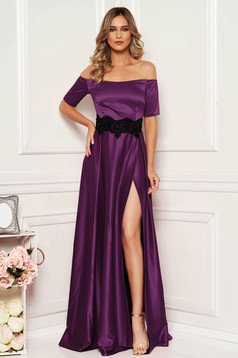 Artista occasional purple dress from satin fabric texture with embroidery details
