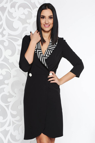 StarShinerS black office blazer type dress slightly elastic fabric with deep cleavage