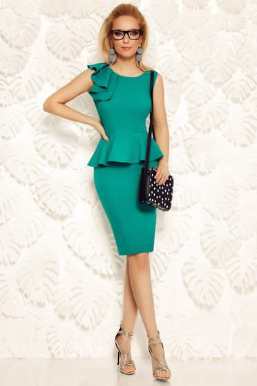 Fofy green elegant pencil dress with frilled waist
