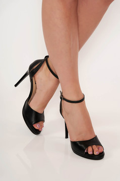 Sandals black elegant natural leather with high heels