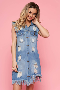 SunShine blue casual nonelastic cotton dress with easy cut with pockets with ruptures