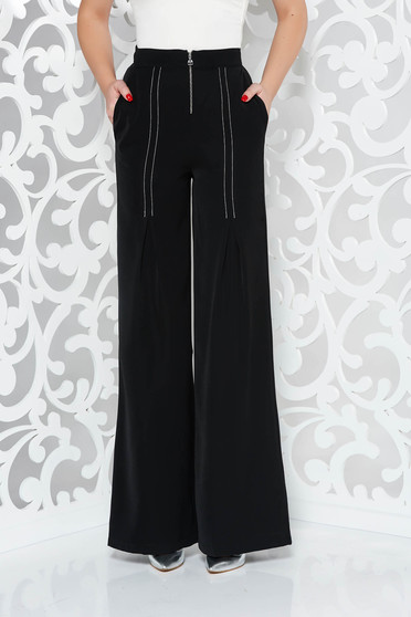 PrettyGirl black elegant trousers high waisted flared with pockets airy fabric