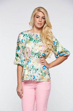 PrettyGirl lightgreen elegant women`s blouse airy fabric from satin fabric texture with puffed sleeves with frilled waist