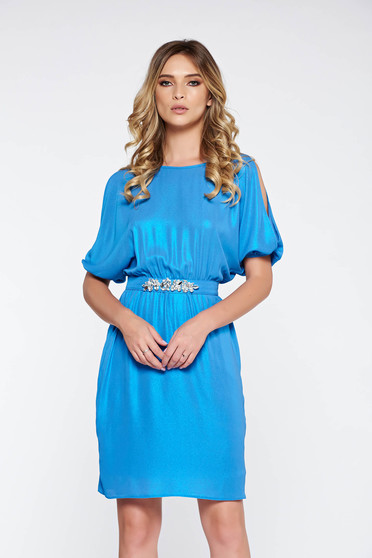 StarShinerS blue dress occasional with metallic aspect nonelastic fabric with inside lining