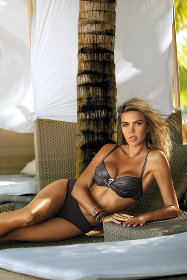Brown swimsuit normal bikinis with balconette bra adjustable straps from shiny fabric with push-up cups
