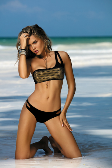 Black swimsuit with classical slip with bandeau bra with cut out material golden metallic details