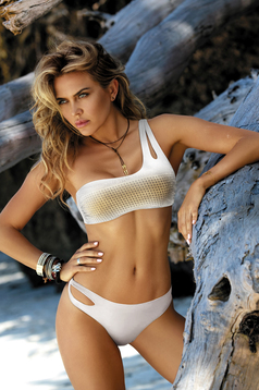 e6cf3430ce0 White swimsuit with push-up cups brazilian slip with balconette bra ...