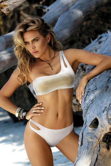 White swimsuit with classical slip with bandeau bra with cut out material golden metallic details