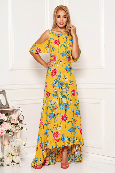 StarShinerS yellow daily asymmetrical dress both shoulders cut out thin fabric with floral prints