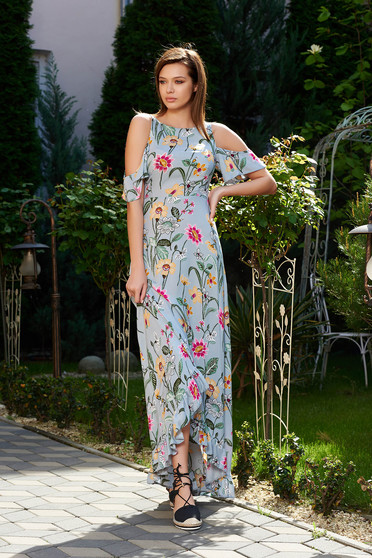 StarShinerS grey daily asymmetrical dress both shoulders cut out thin fabric with floral prints