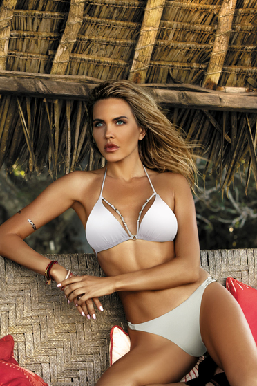 White swimsuit brazilian slip triangle bra with straps with push-up cups with metal accessories