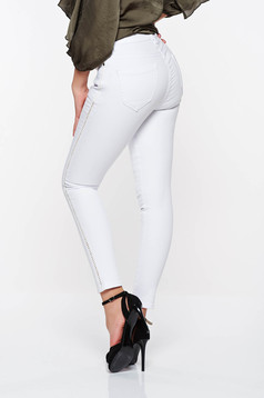 Top Secret white casual skinny jeans elastic cotton with front and back pockets