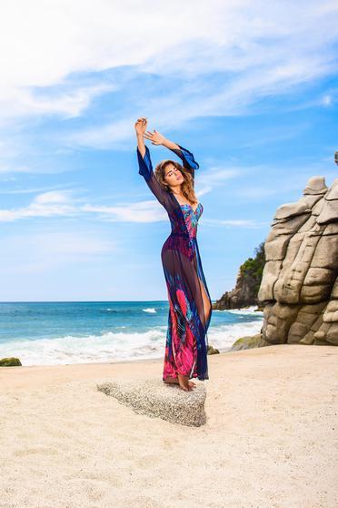 Cosita Linda darkblue dress beach wear with floral print