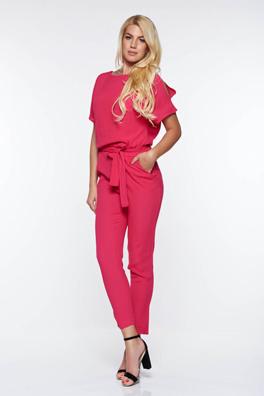 Top Secret Fuchsia casual jumpsuit airy fabric with inside lining with elastic waist