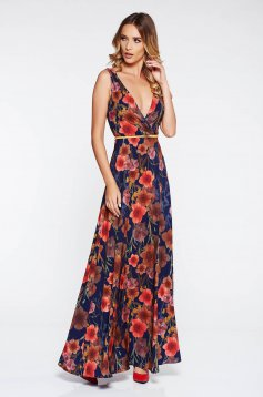 StarShinerS darkblue elegant dress airy fabric with inside lining accessorized with tied waistband