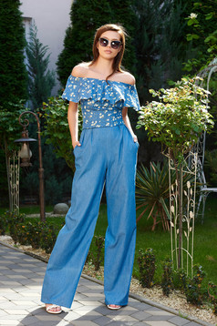 StarShinerS blue trousers casual denim high waisted flared with pockets