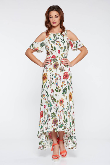 StarShinerS cream daily asymmetrical dress both shoulders cut out thin fabric with floral prints