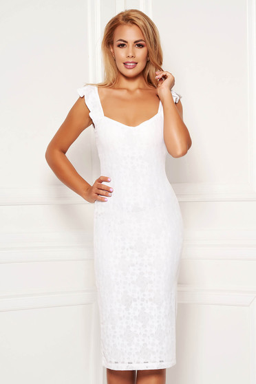 StarShinerS white daily pencil dress from elastic and fine fabric with inside lining sleeveless