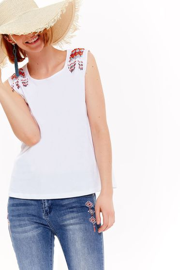 Top Secret white casual flared cotton top shirt with small beads embellished details