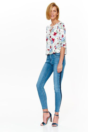 Top Secret white casual flared women`s blouse airy fabric with floral prints