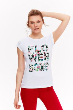 Top Secret white t-shirt casual slightly elastic cotton with print details
