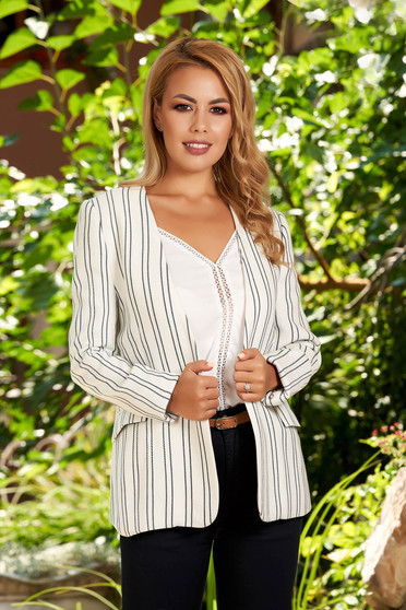 White jacket casual blazer long sleeve with stripes