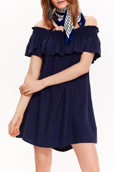 Top Secret darkblue casual flared dress airy fabric off shoulder