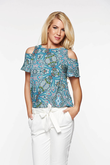 Casual Top Secret lightblue women`s blouse with easy cut airy fabric both shoulders cut out