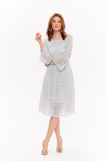 Top Secret lightgrey elegant laced dress with inside lining with bell sleeve