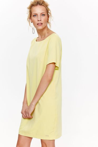 Top Secret yellow daily flared dress slightly elastic fabric short sleeves