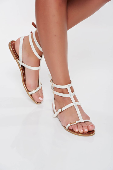 White casual low heel sandals light sole from ecological leather