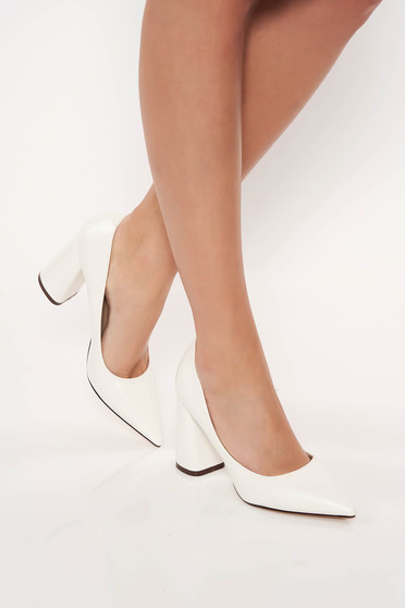 White elegant shoes chunky heel from ecological leather