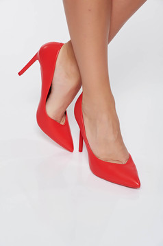 Red elegant shoes with high heels slightly pointed toe tip