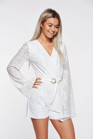 Casual jumpsuit StarShinerS white from elastic and fine fabric with inside lining with elastic waist