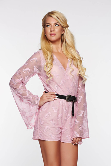 Casual jumpsuit StarShinerS rosa from elastic and fine fabric with inside lining with elastic waist