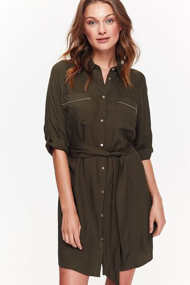 Top Secret green casual flared dress from soft fabric accessorized with tied waistband