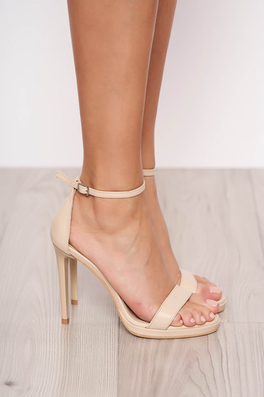 Natural leather elegant with high heels