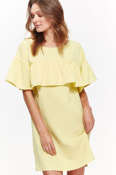 Top Secret yellow daily flared dress nonelastic fabric with ruffles on the chest
