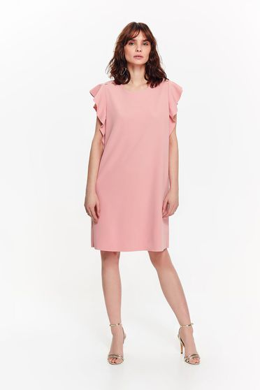 Top Secret rosa elegant flared dress slightly elastic fabric both shoulders cut out with ruffle details