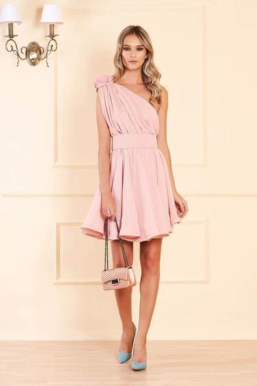 Ana Radu lightpink one shoulder cloche dress from veil fabric with inside lining luxurious