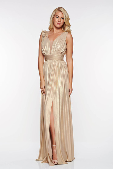 LaDonna gold occasional cloche dress from shiny fabric with floral details