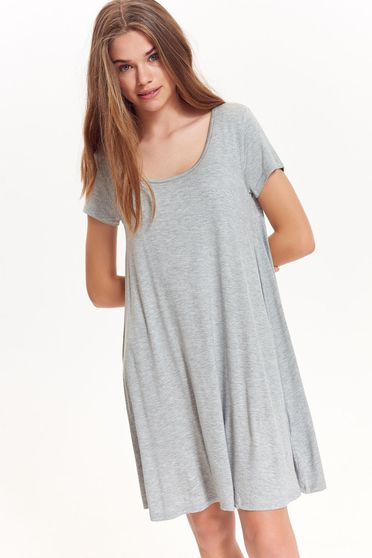 Top Secret grey dress casual flared from soft fabric slightly elastic fabric