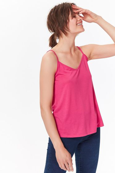 Top Secret pink top shirt casual flared from soft fabric with straps