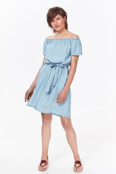 Top Secret lightblue daily flared dress denim accessorized with tied waistband