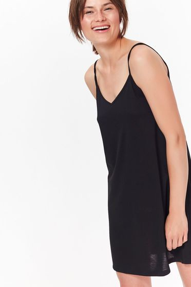 Top Secret black casual short cut flared dress with braces thin fabric