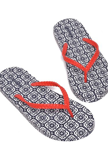 Top Secret darkblue slippers with graphic details beach wear gum sole