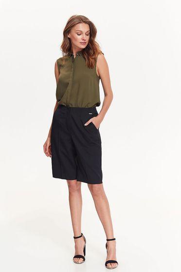 Top Secret khaki office flared women`s shirt thin fabric sleeveless