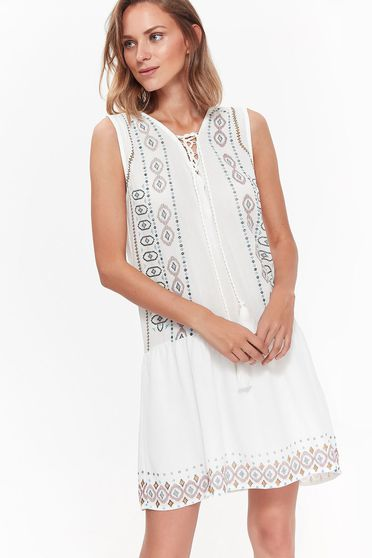 Top Secret white dress daily flared airy fabric with laced details