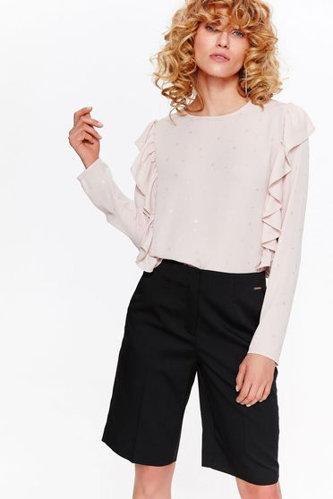 Top Secret rosa elegant flared women`s blouse nonelastic fabric with ruffle details with bright details