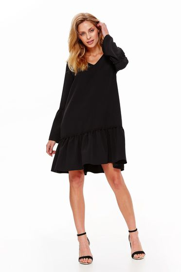 Top Secret black dress daily flared slightly elastic fabric with bell sleeve